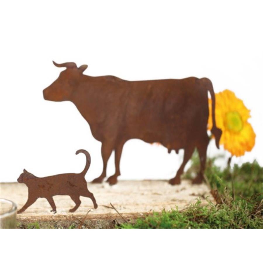 Bauernhof minitier kuh seitlich zum stecken rostig metall for Tiere aus rostigem metall