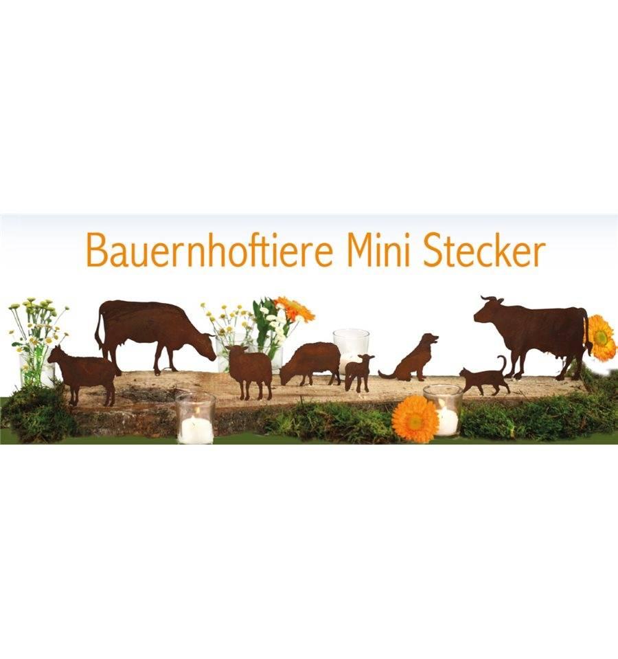 Bauernhof minitiere zum stecken set edelrost rostig for Edelrost tiere