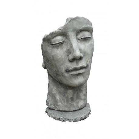 """Steinguss Kunstobjekt: Gesicht """"Mann"""", 115 cm hoch"""