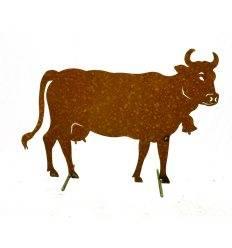Edelrost Kuh XL 140 x 100 cm auf Stangen Original Allgäuer Rostkuh