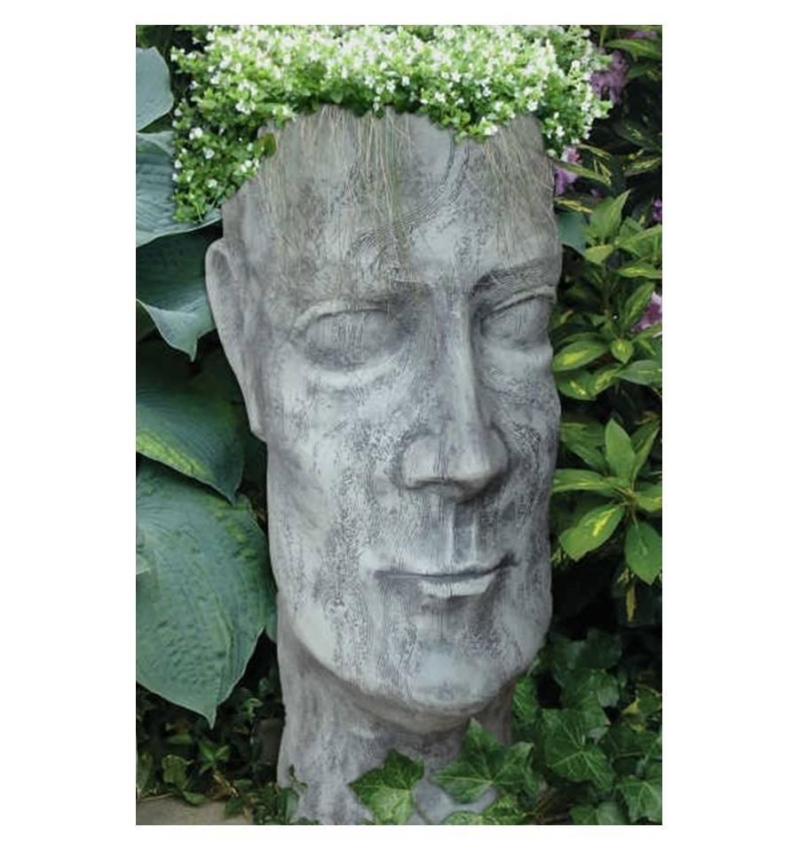 Steinguss pflanzgef gesicht mann gartendeko for Gartendeko aus stein und metall