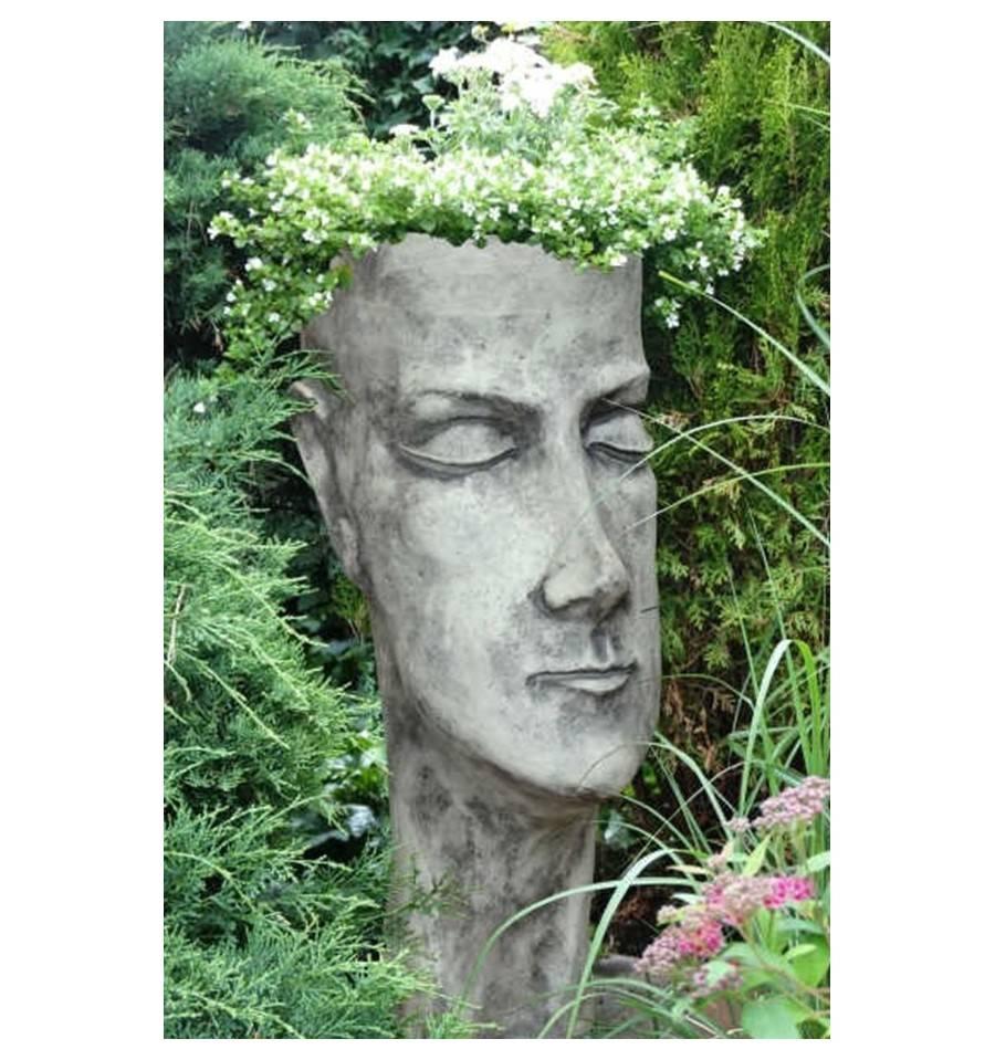 Steinguss pflanzgef gesicht frau gartendeko for Gartendeko aus stein und metall