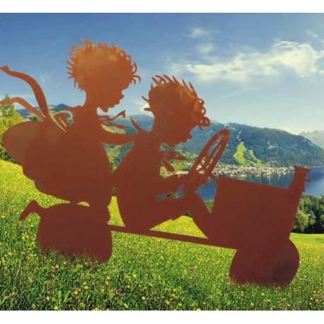 Kinder mit Seifenkiste auf Querstangen, 80cm hoch und 115cm breit