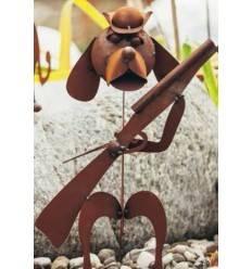 Edelrost Garten-Cavallero Hund mit Gewehr, 40cm hoch und 34cm breit
