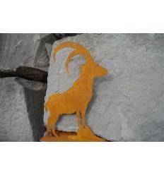 Steinbock auf Platte - Mini Höhe 15 cm