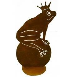 Froschkönig XL 45 cm hoch - Frosch auf Kugel für Teich und Garten