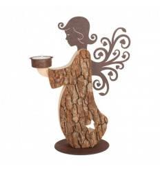 Rinden Engel 27 cm hoch mit Ornamentflügel und Teelichthalter