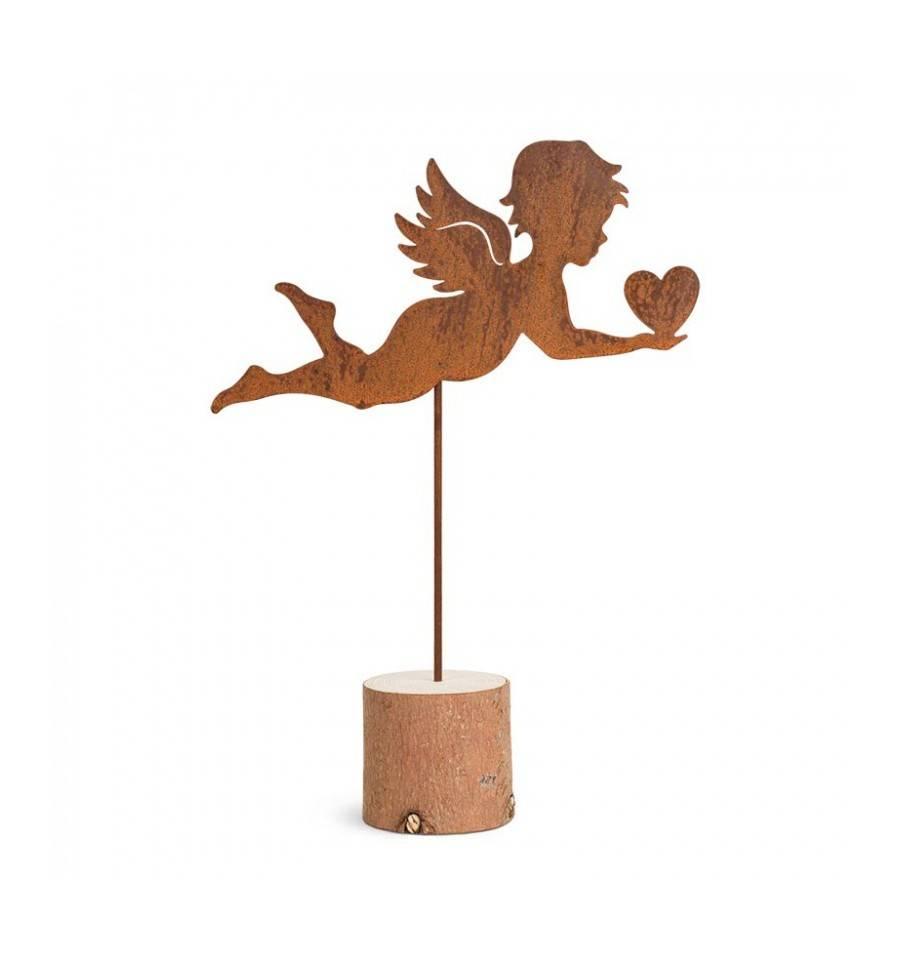 Engelchen engelskulptur edelrost mit herz in der hand gro for Engel edelrost
