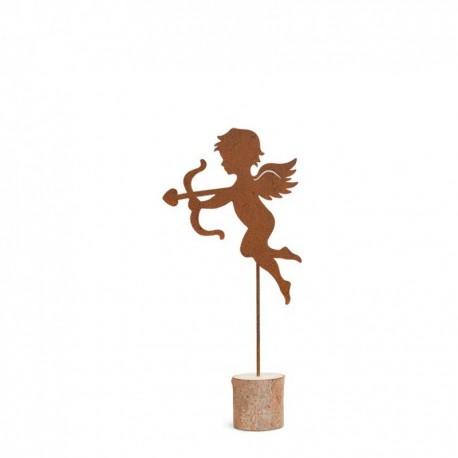 Engel Skulptur mit Pfeil und Bogen Amor aus Metall Rostig Edelrost