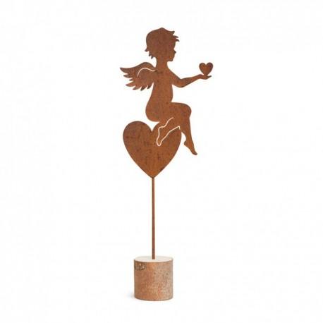 Engelskulptur Edelrost sitzend mit Herz groß 29cm