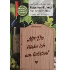 """Flaschen-Etikett aus Holz - """"Mit dir am liebsten"""""""