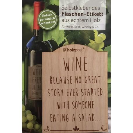 "Flaschen-Etikett aus Holz - ""Eating a salad"""