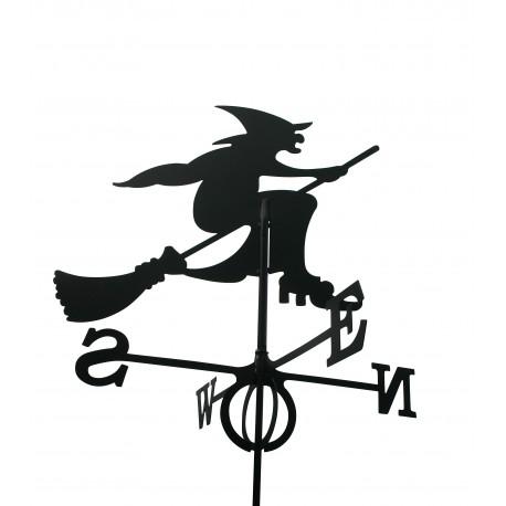Wetterfahne Hexe GROSS mit Stab schwarz 54 x 85 cm