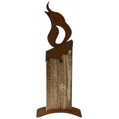 Deko Holzkerze -Mohamed- angeflammt, 35cm hoch aus Fichtenholz