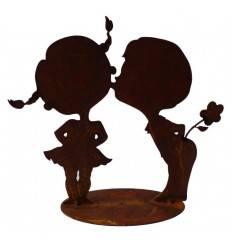 """Kinderfigur Junge und Mädchen """"Bussi"""" 17 cm hoch"""