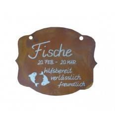 """Rostschild Sternzeichen """"Fische"""" 13 x 11 cm - 20.Februar bis 20.März"""
