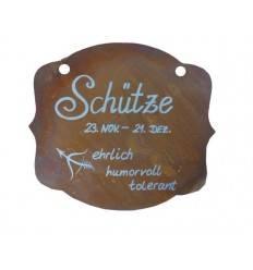 """Rostschild Sternzeichen """"Schütze"""" 13 x 11 cm - 23.November bis 21.Dezember"""