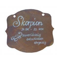 """Rostschild Sternzeichen """"Skorpion"""" 13 x 11 cm - 24.Oktober bis 22.November"""