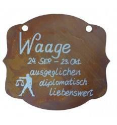 """Rostschild Sternzeichen """"Waage"""" 13 x 11 cm - 24.September bis 23.Oktober"""