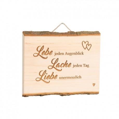 """Spruchschild Brett Erle """"Lebe jeden Augenblick, Lache jeden Tag , Liebe unermesslich"""""""